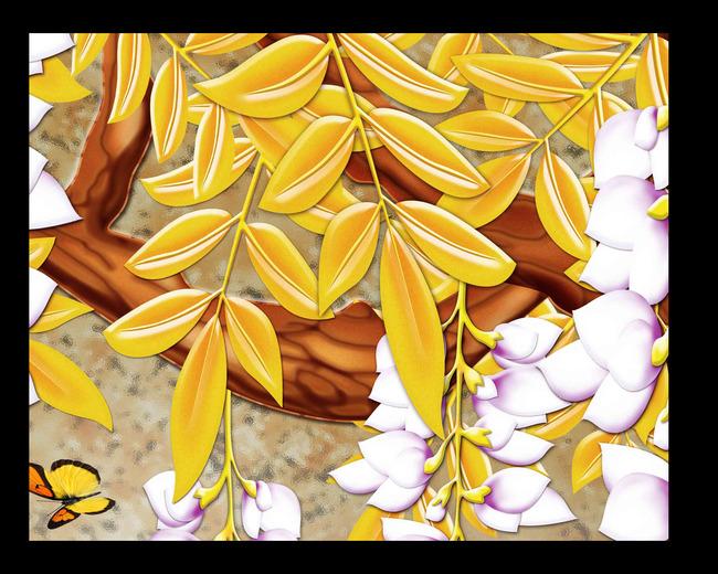 原创分层彩雕紫藤花3d背景墙