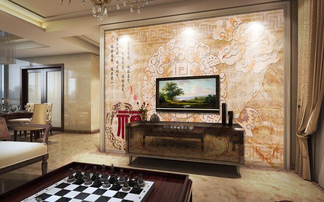百福图大理石电视背景墙