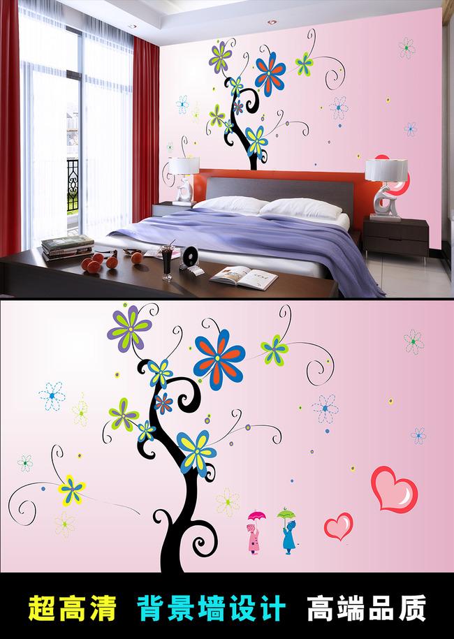 手绘花纹卧室背景墙壁画