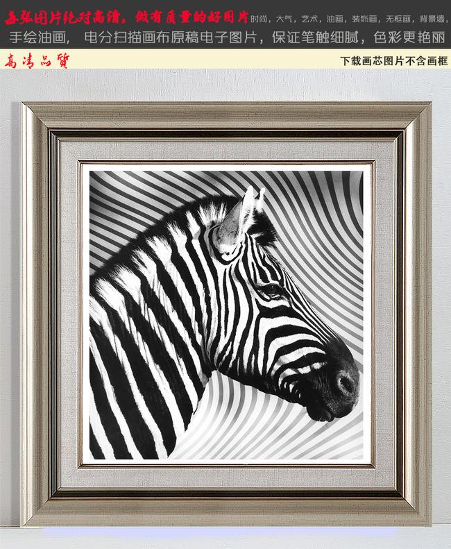 欧式班马梦幻条纹黑白装饰画2图片下载斑马动物线条梦幻唯美 老照片