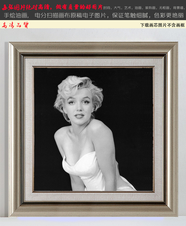 玛丽莲梦露怀旧人物黑白装饰画4