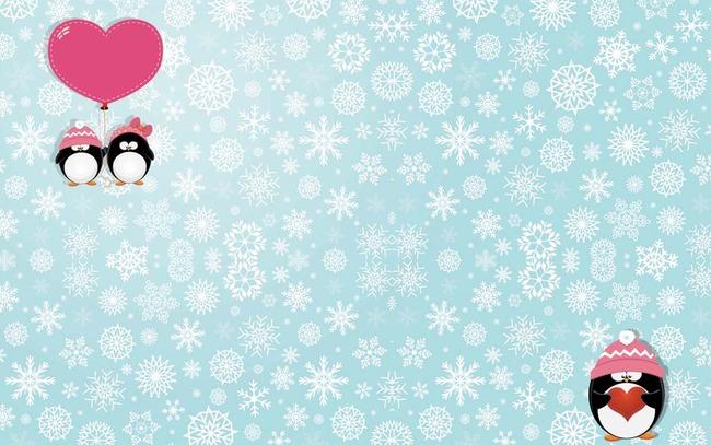 雪花背景企鹅卡通电视背景墙