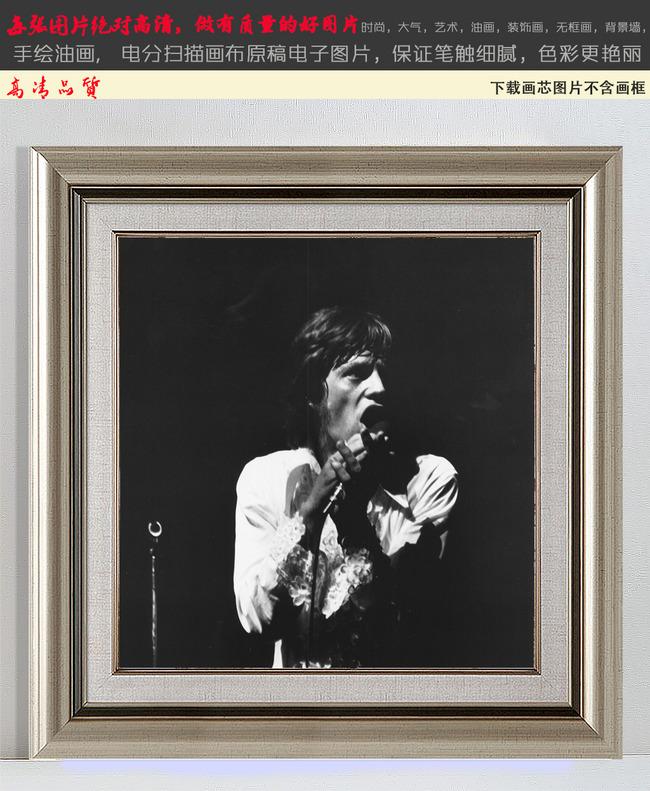 披头士巨星怀旧纪念人物黑白装饰画无框画2