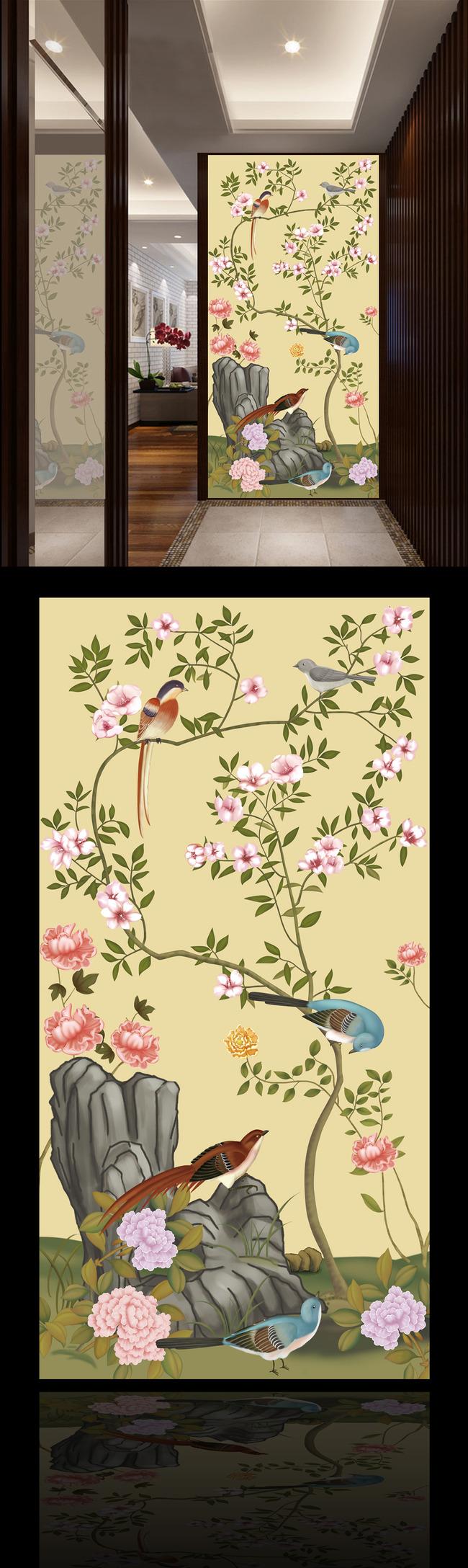 精品手绘花鸟玄关