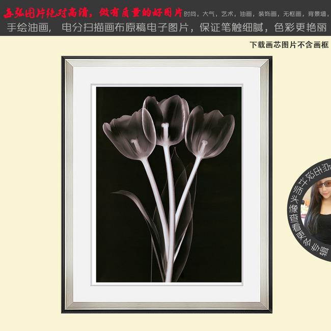 黑白装饰画元素水花展示