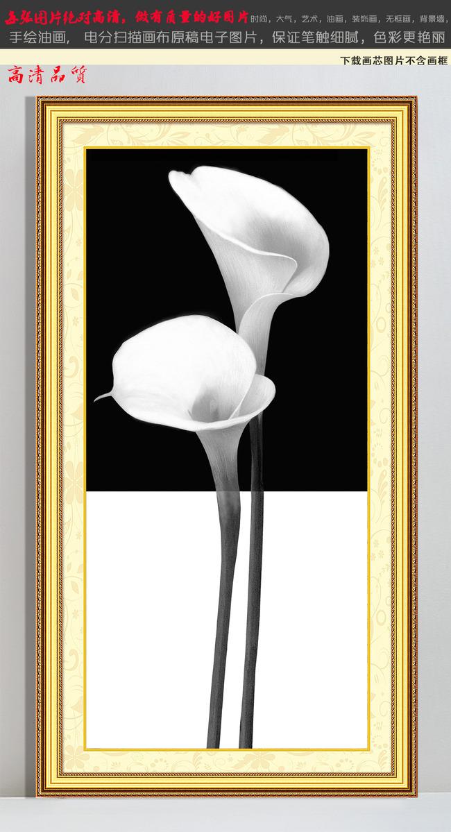 黑白花卉马蹄莲怀旧黑白老照片装饰画