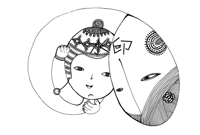 母子手绘卡通图