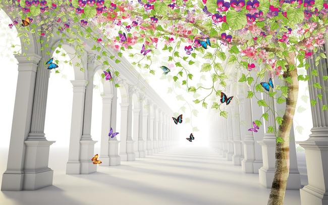唯美古风手绘花树