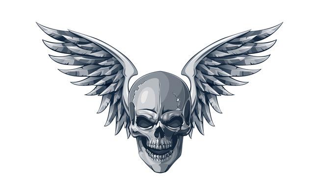 个性时尚流行骷髅翅膀矢量图案模板下载(图片编号:)