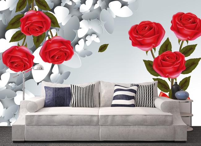 手绘玫瑰花3d抽象蝴蝶时尚背景墙