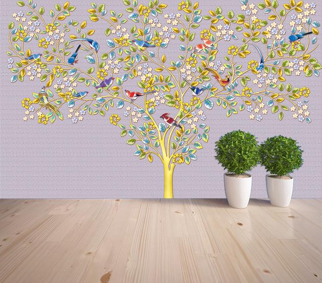 手绘花鸟电视背景墙壁画高清图片