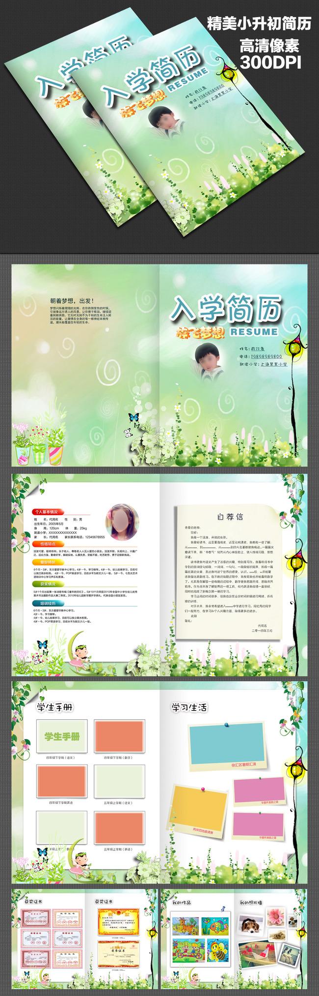模板背景图片下载 小升初范文 小学生入学简历 小升初自荐信 个人介绍图片