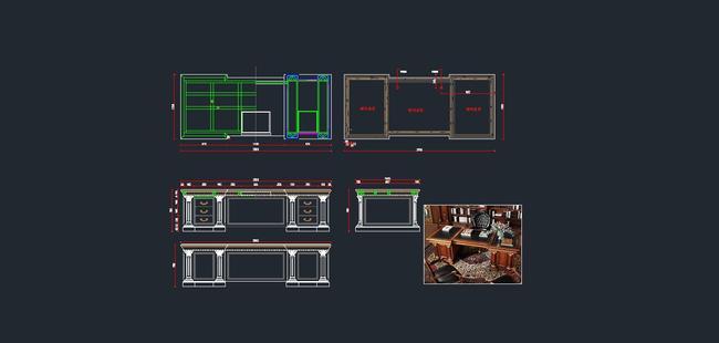 欧式家具cad图纸,老板台cad图下载5