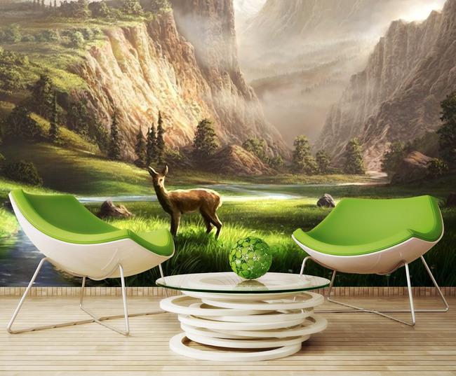 3d田园风景客厅电视沙发背景墙