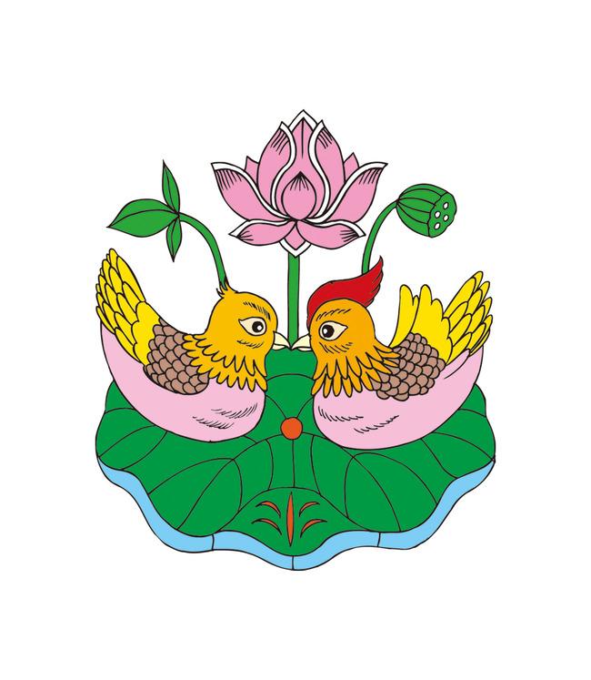矢量古典花卉鸳鸯戏水吉祥图案