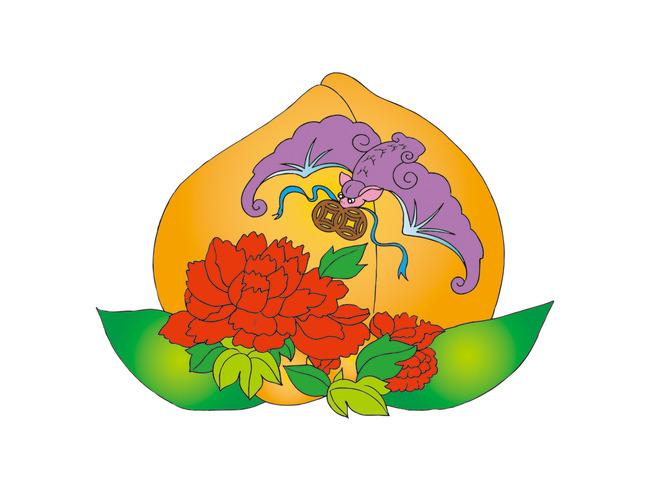 矢量手绘仙桃蝙蝠牡丹吉祥图案