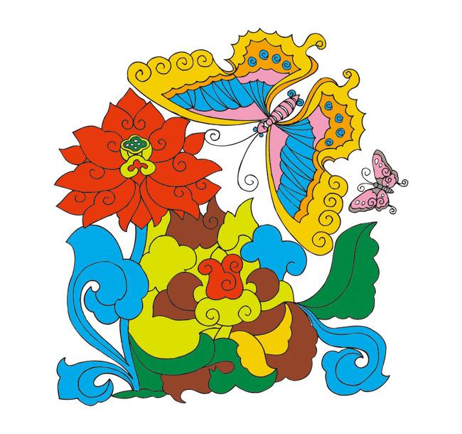 矢量手绘花卉蝴蝶吉祥图案