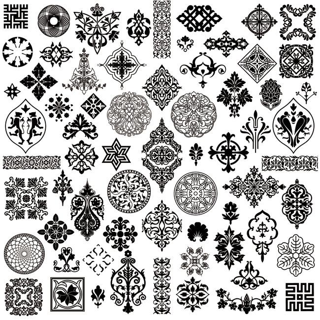 矢量欧式中式古典边框花纹图案
