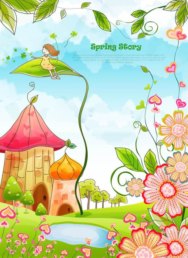 卡通春天 蓝天白云 绿叶 女孩 时尚花纹 春天梦幻花纹花朵天使 蓝天