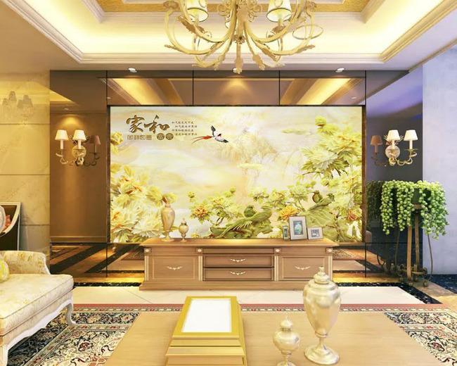 家和富贵吉祥如意玉雕浮雕电视背景墙