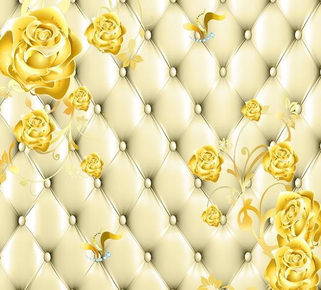 软包金色玫瑰背景墙下载高清图片下载(图片编号)欧式