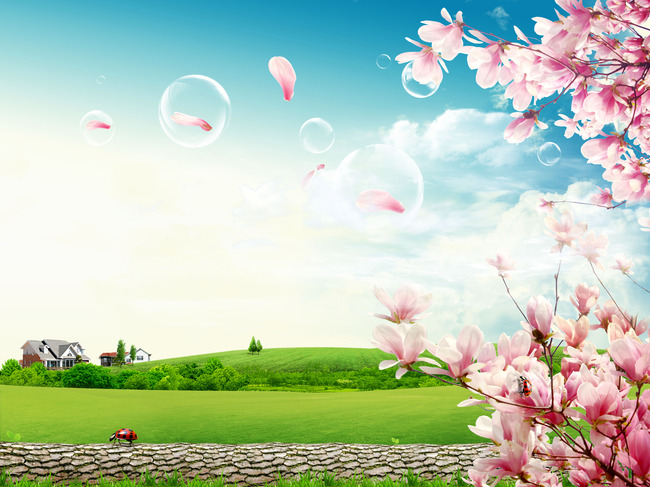 春天背景春天海报背景