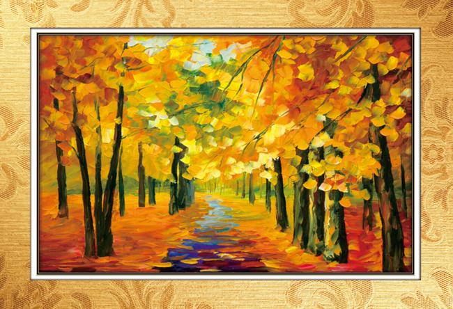秋天抽象风景油画