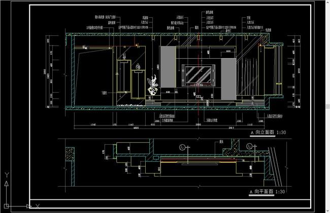 现代电视墙立面图cad图纸施工图下载