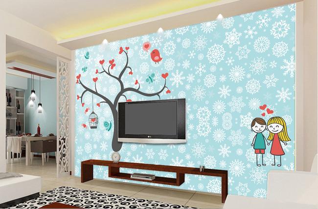 卡通摇钱树爱心树客厅电视背景墙