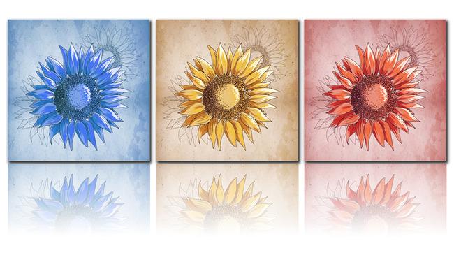 手绘向日葵无框画