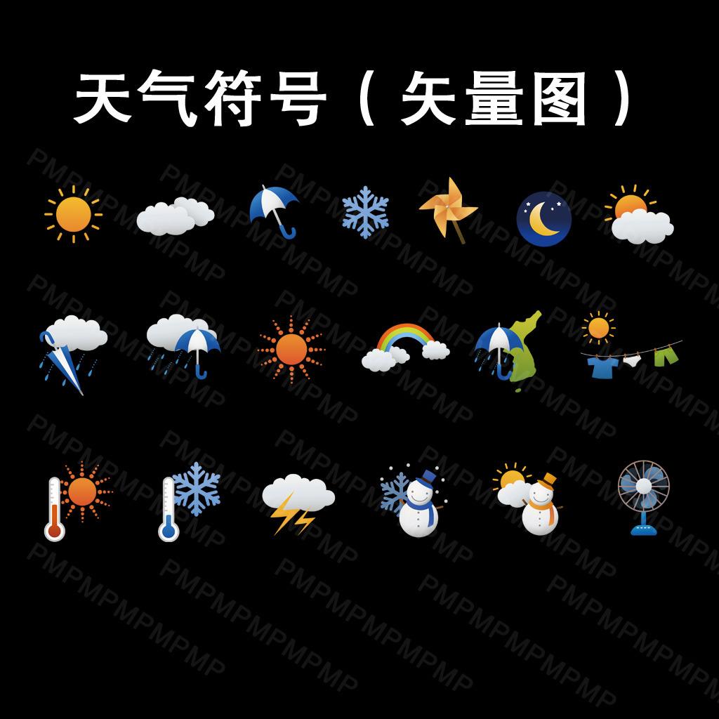 天气符号简笔画带注释