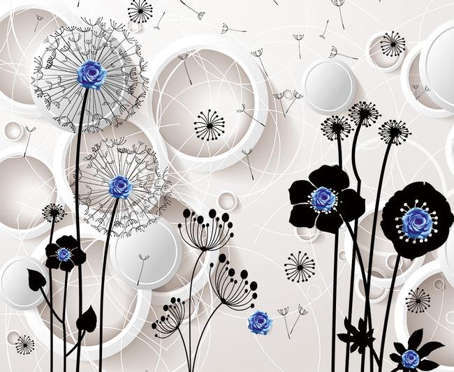 3d立体蒲公英圆圈欧式花纹高清电视背景墙图片