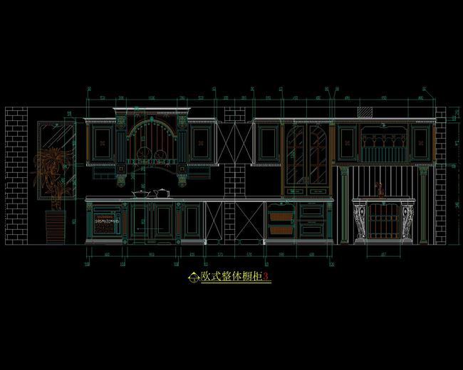 cad图库 室内设计cad图库 家具cad图纸 > 欧式实木橱柜设计cad图库