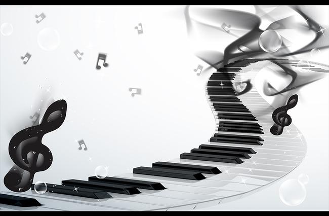 3d钢琴键音符黑白电视背景墙装饰画
