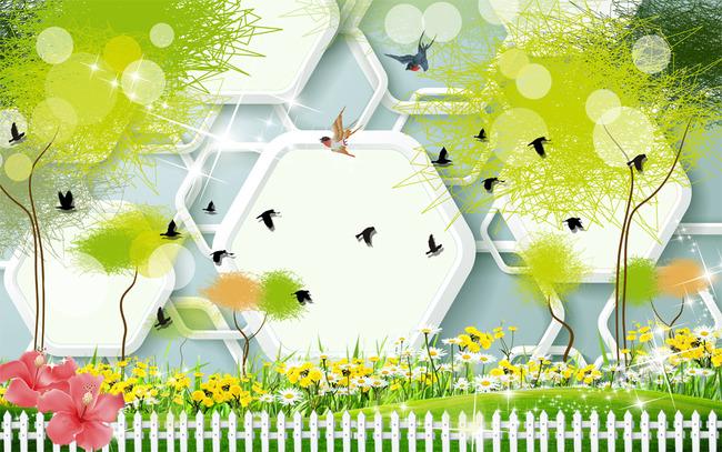 高清手绘树纹3d田园风景电视沙发背景墙