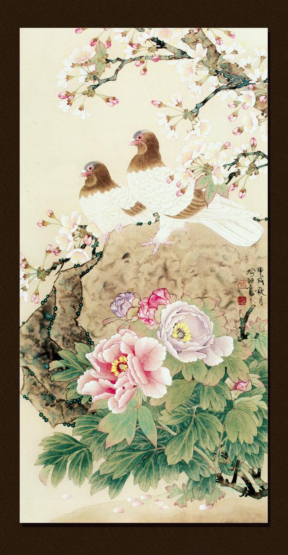 中式花鸟窗格玄关背景高清图片下载