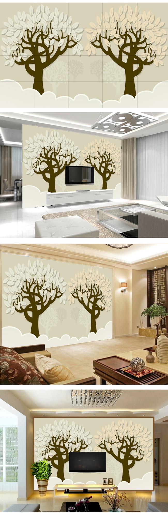 手绘唯美树背景墙