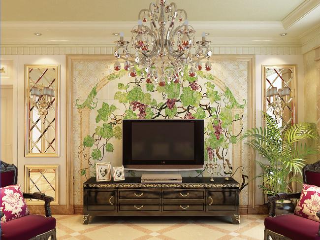 葡萄园时尚家庭电视背景墙