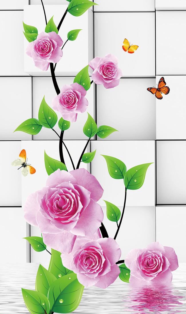 背景墙|装饰画 玄关 3d玄关 > 3d立体方块玫瑰绿叶花藤水倒影玄关背景