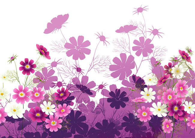手绘紫色菊花壁画背景墙