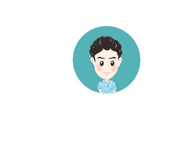 卡通人物头像插画设计图片下载 卡通人物头像插画 卷头发男孩 蓝色