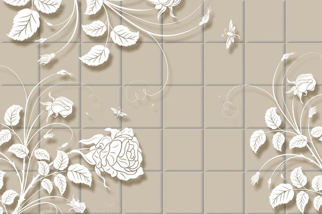 欧式手绘花纹电视背景墙