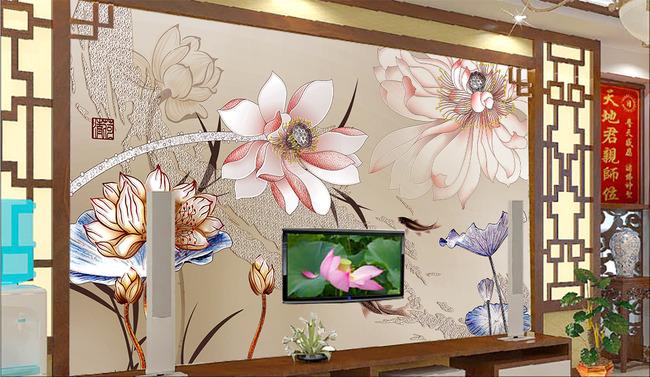 手绘荷花背景墙高清图片下载(图片编号13444222)花卉