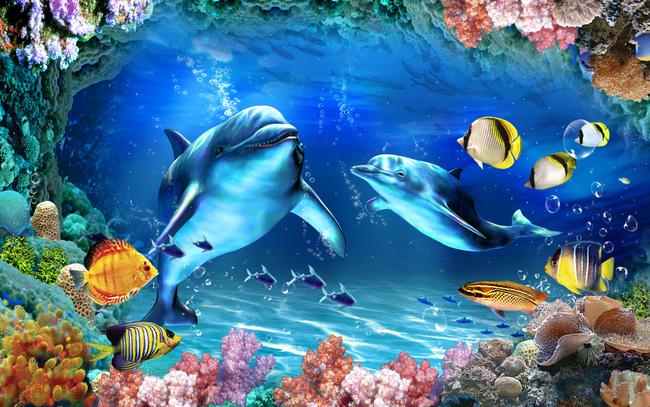 高清3d立体海底世界海豚电视背景墙