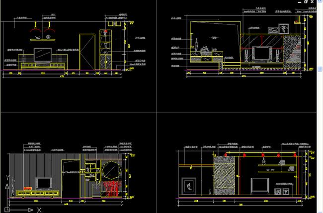 室内设计cad图库 家装施工cad图纸 > 标准三室两厅户型设计电视机背景