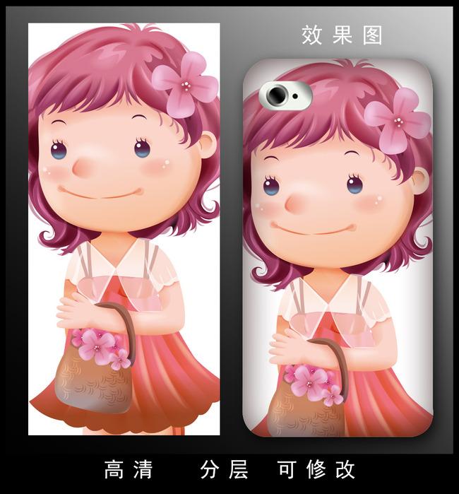 矢量动漫可爱女生粉色卡通手机壳