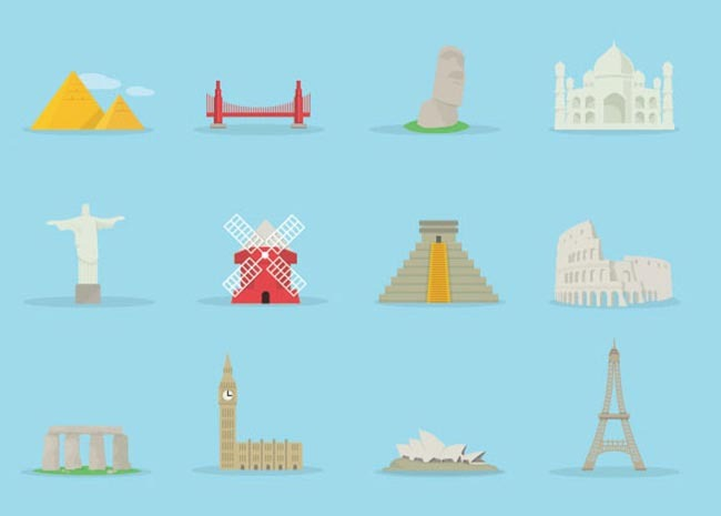 建筑图标 建筑标签图标 矢量素材建筑金字塔埃菲尔铁塔 复活节岛 风车