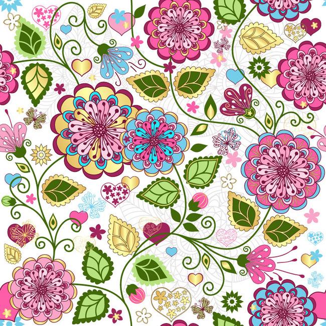 平面设计 花纹图案设计 花纹素材 > 精美手绘花朵印花花纹  下一张&