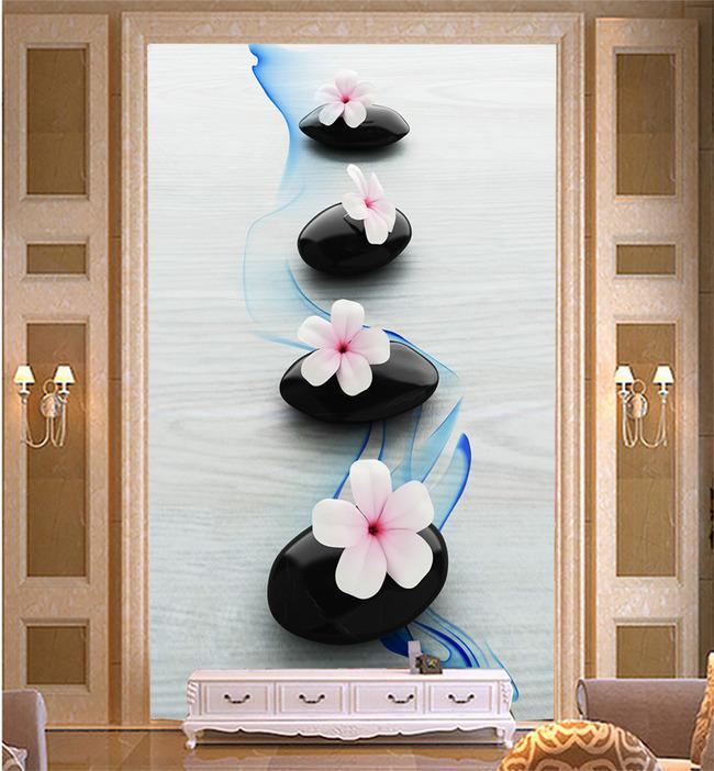 浪漫石头花白色木板玄关背景墙