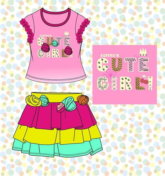 女童裙子手稿矢量童装t恤图案